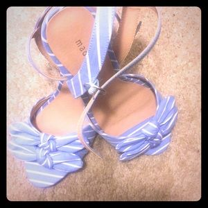 madden girl blue and white stripped sandals